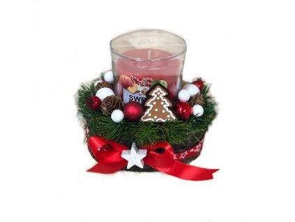 Vánoční svícen s perníčkem a vonnou svíčkou v červené barvě 12 cm