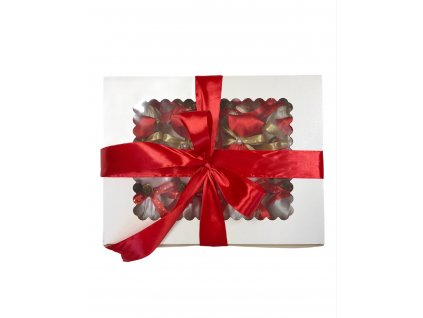 Vánoční sada baněk o 12 ks v červeno - bílo - krémové barvě