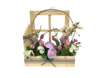 Jarní truhlík dřevěný v přírodní barvě s fialovými květinami 42 cm