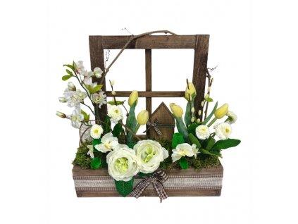Jarní truhlík dřevěný v tmavé přírodní barvě s bílými a žlutými květinami 42 cm