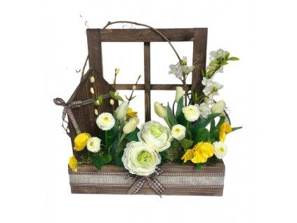 Jarní truhlík dřevěný v tmavé přírodní barvě s bílými a ostře žlutými květinami 42 cm