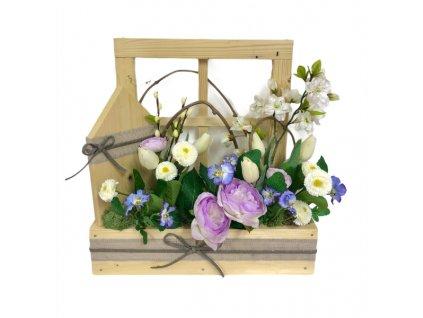 Jarní truhlík dřevěný v přírodní barvě s bílými a fialovými květinami 42 cm