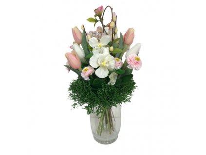 Jarní umělá kytička z tulipánů, macešek a chudobek v růžové barvě 35 cm