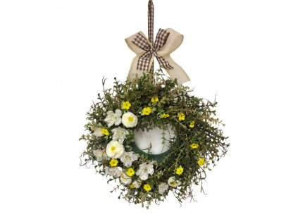 Dekorace jarní věnec závěsný se žlutými květinami 35 cm
