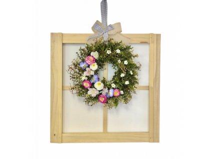 Závěsná dekorace dřevěné okno světlé s jarním věnečkem 50 cm