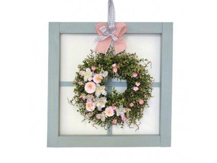 Závěsná dekorace dřevěné okno šedé s jarním věnečkem 50 cm