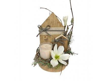 Dřevěný svícen s domečky a svíčkou tmavě hnědý 30 cm