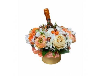 Květinový box z pryskyřníků oranžový s Lindt bonbóny a sektem 35 cm