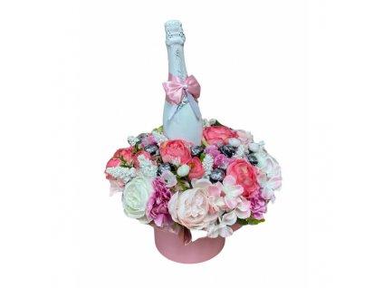 Květinový box z pryskyřníků růžový větší s Lindt bonbóny a sektem 47 cm