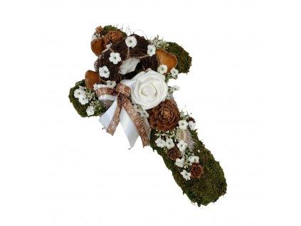 Dušičková dekorace na hrob ve tvaru kříže s mechem, růžemi a sušenými plody 41 cm
