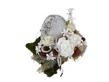 Dušičková dekorace na hrob s oválnou deskou a růžemi 25 cm