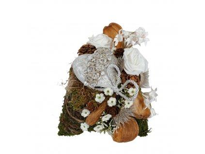 Dušičková dekorace na hrob se srdcem, růžemi a plody 20 cm