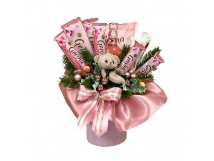 Vánoční dárkový box růžový s Geisha dobrotami 44 cm