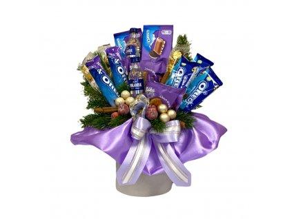 Vánoční dárkový box fialový s vodkou a Milka dobrotami 44 cm