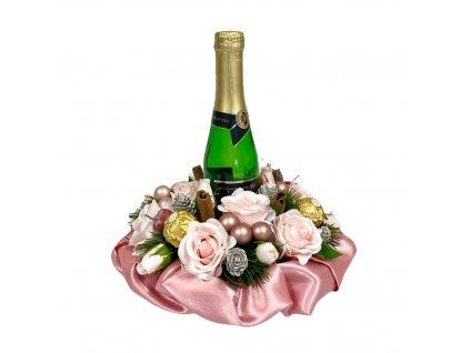 Vánoční dárkový box růžový se sektem a Ferrero Rocher pralinkami 27 cm