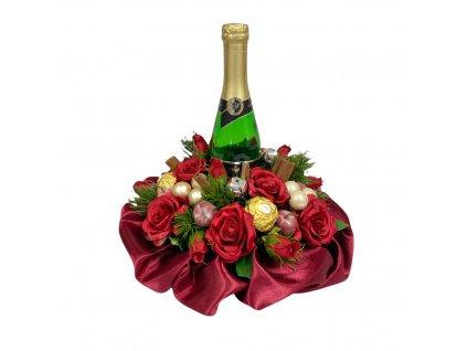 Vánoční dárkový box červený se sektem a Ferrero Rocher pralinkami 27 cm