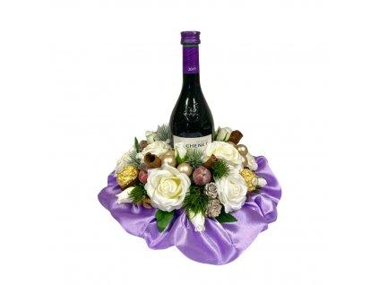 Vánoční dárkový box fialový s Merlotem a Ferrero Rocher pralinkami 27 cm