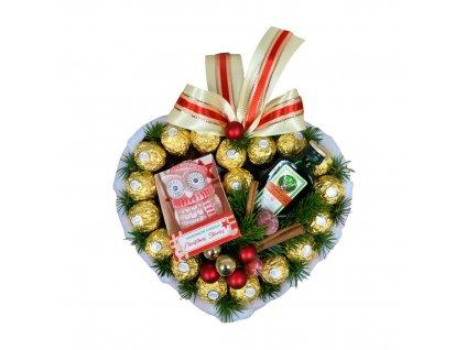 Bonboniéra ve tvaru srdce s Ferrero Rocher pralinkami, Jagermeistrem a svíčkou ve tvaru sovy 28 cm