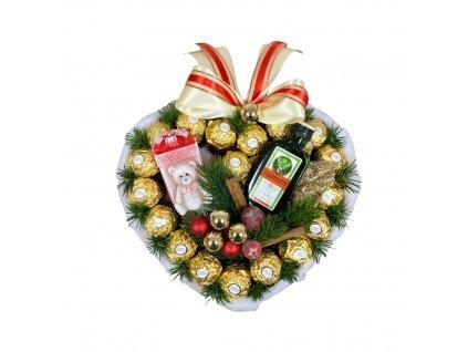 Bonboniéra ve tvaru srdce s Ferrero Rocher pralinkami, Jagermeistrem a svíčkou ve tvaru dárku s medvídkem 28 cm