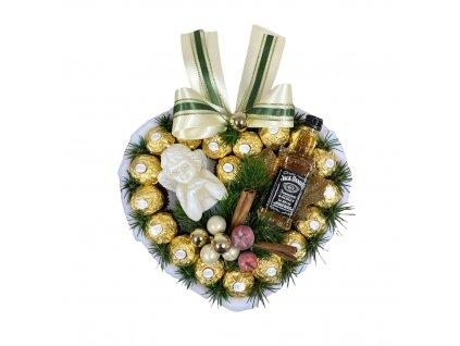Bonboniéra ve tvaru srdce s Ferrero Rocher pralinkami, Jack Danielsem a svíčkou ve tvaru anděla 28 cm
