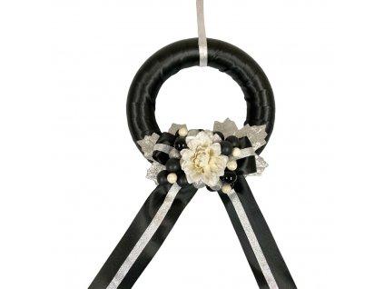 Vánoční závěsný věnec moderní černý 22x69 cm