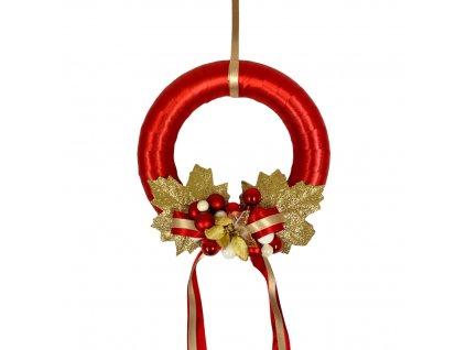 Vánoční závěsný věnec moderní červený 22x69 cm