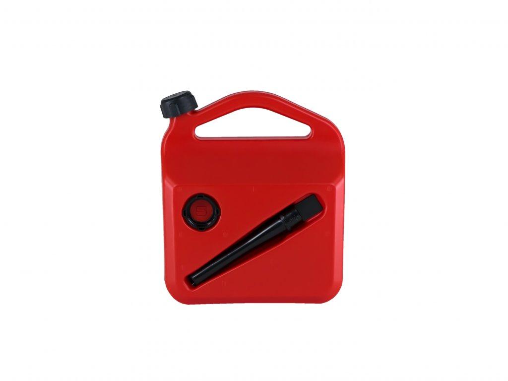 Plastový kanystr na pohonné hmoty, 5 litrů, červený