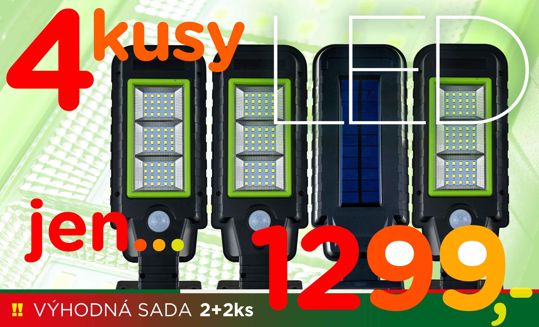 SET 4ks solární LED lampy 60 SMD LED diod