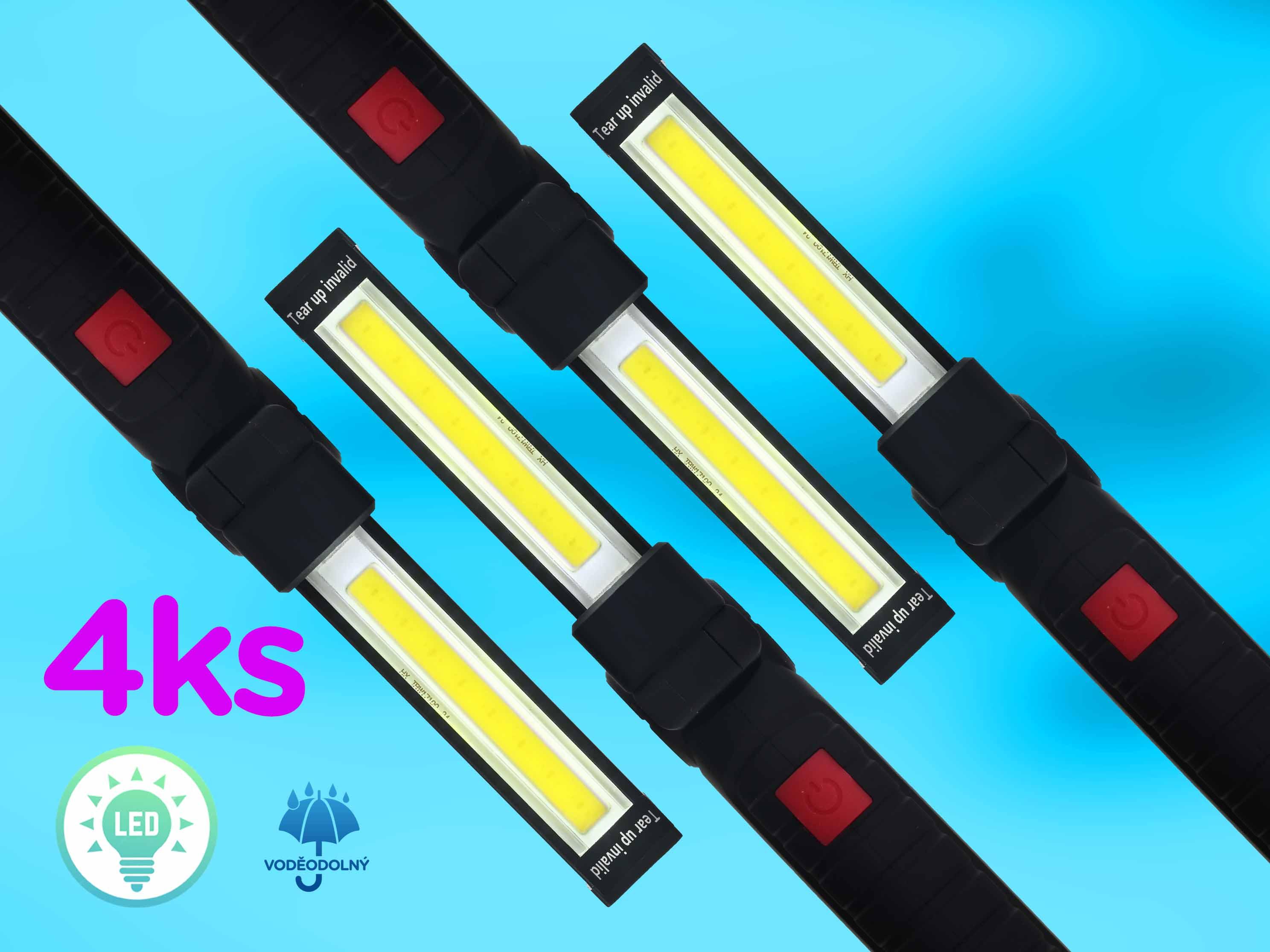 Výhodná sada 4ks LED Strip Light pracovních magnetických svítilen