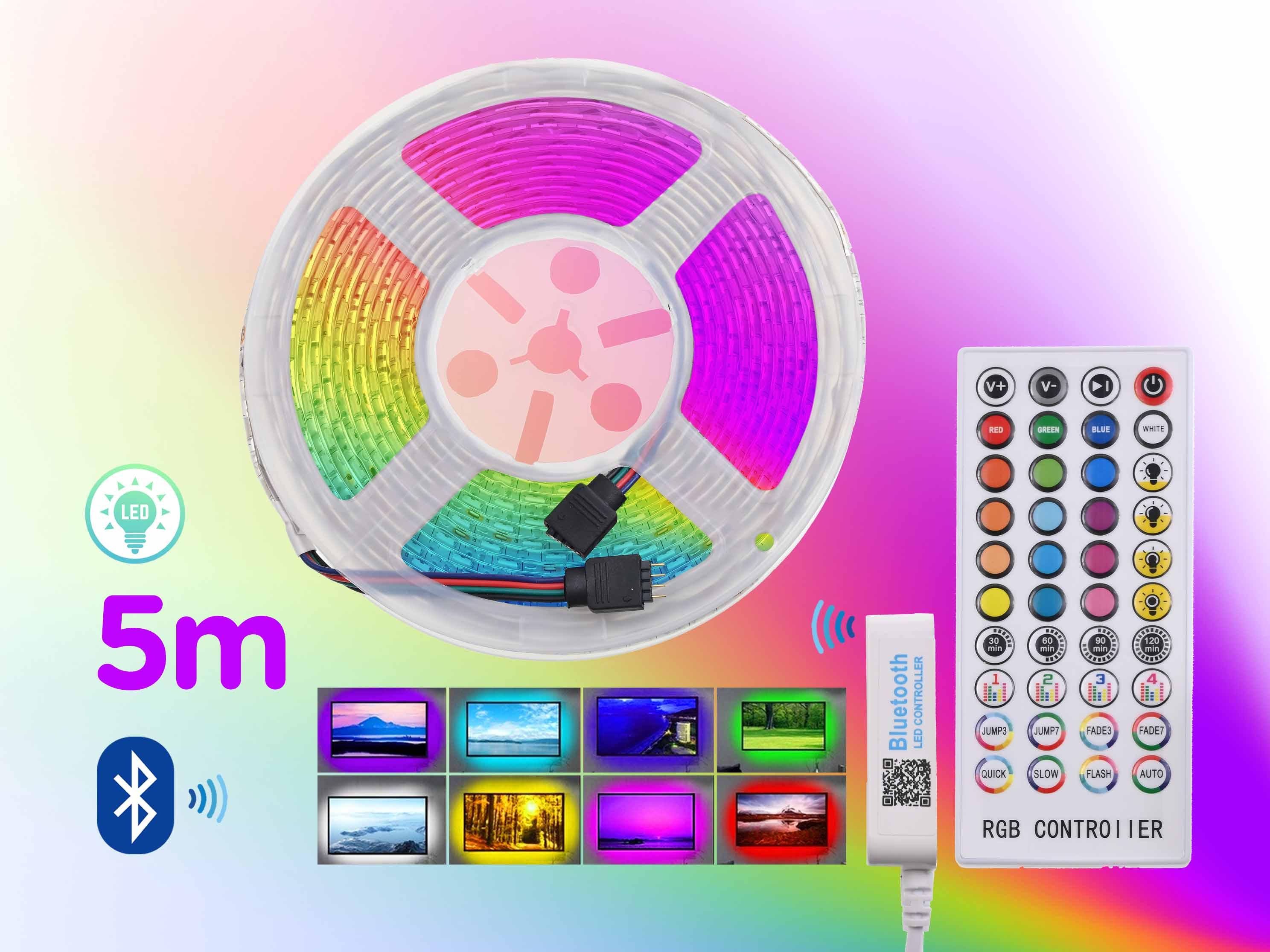 BlueTooth 5m Barevné LED podsvícení pásové, RGB, délka 5 metrů