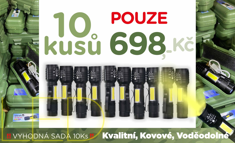 Výhodná sada 10 balení Kovových LED svítilen