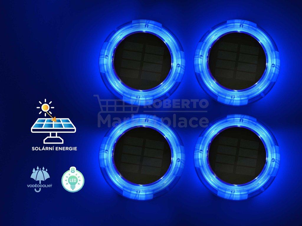 FOYU LED Solar Garden HIGHLIGHT lampa na zahradu modra 4ks f1