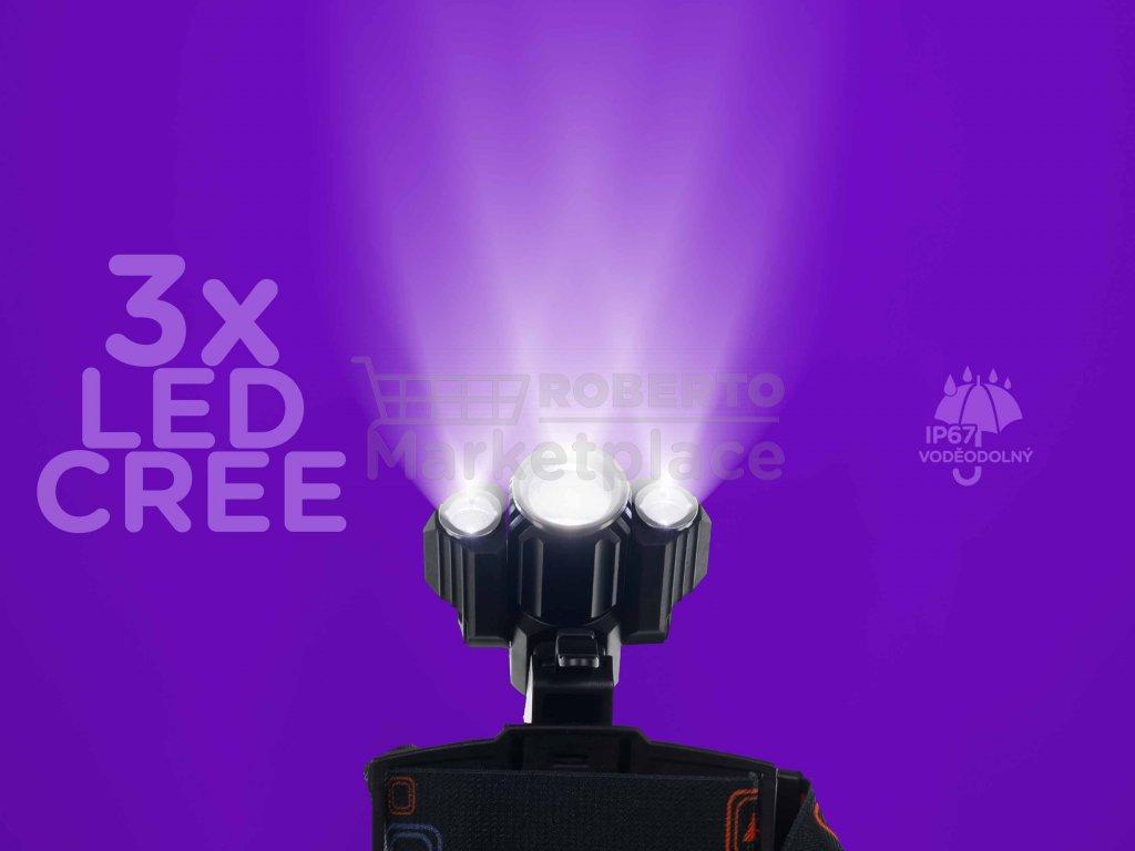 LED celovka W603 3x LED Cree 17600mAh f1