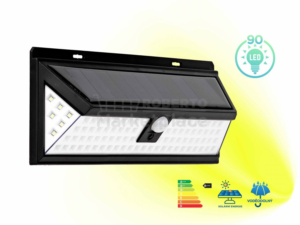 LED solarni nastenne svetlo 90 led f1