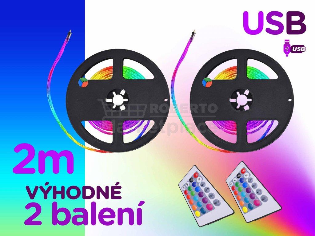 barevne 2m USB LED vyhodne 2 baleni podsviceni pasove rgb dalkove ovladani FOYU f1b