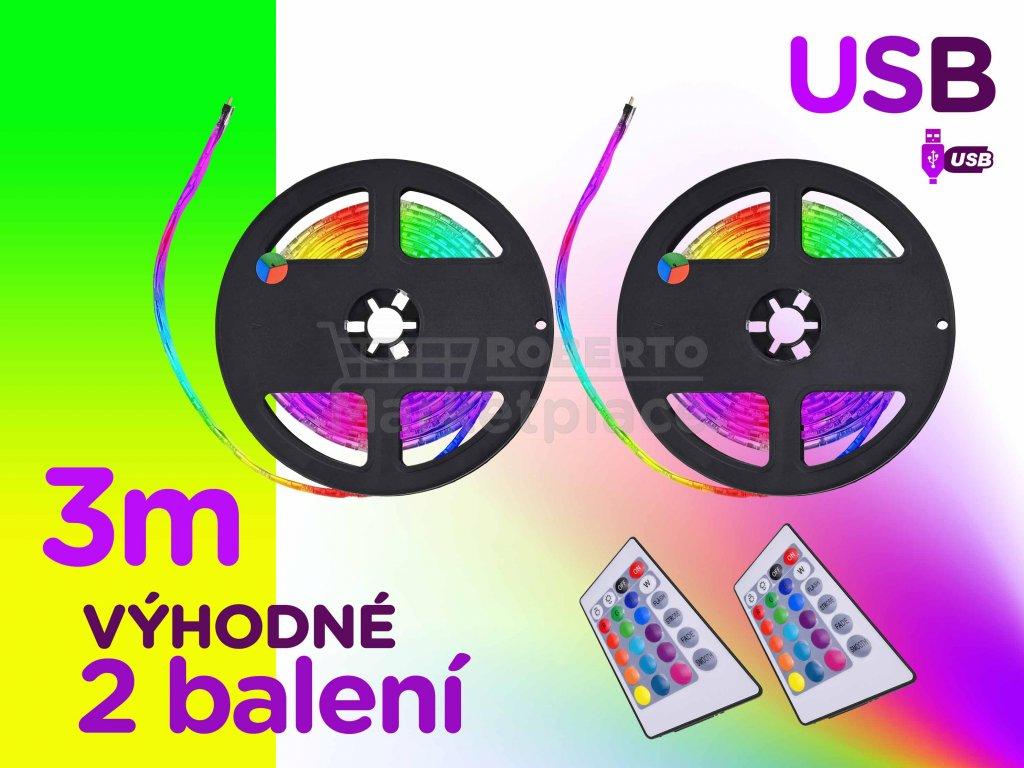 barevne 3m USB LED vyhodne 2 baleni podsviceni pasove rgb dalkove ovladani FOYU f1b
