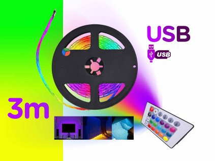 barevne 3m USB led podsviceni pasove rgb dalkove ovladani FOYU f1