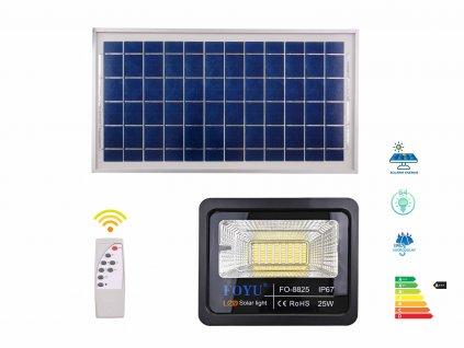 led svetlo solarni panel velky dalkove ovladani FOYU FO8852 25w f2