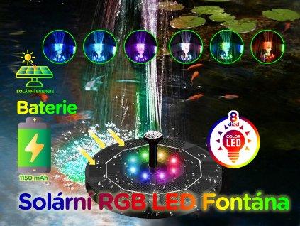 solarni fontana baterie barevne led osviceni f9