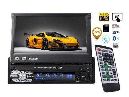 multimedialni auto radio s automatickou obrazovkou bluetooth gps sdcard usb f1b