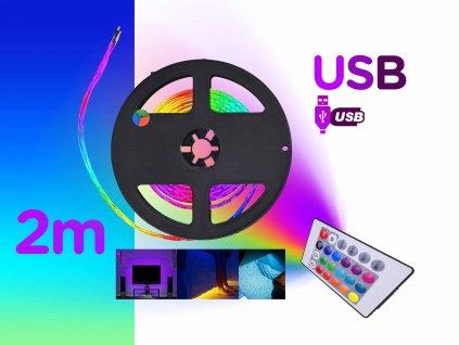 barevne 2m USB led podsviceni pasove rgb dalkove ovladani FOYU f1