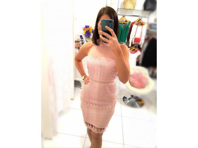 Krajkové pouzdrové šaty pink queen