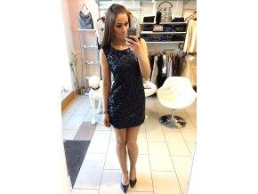 Modro-černé flitrové šaty