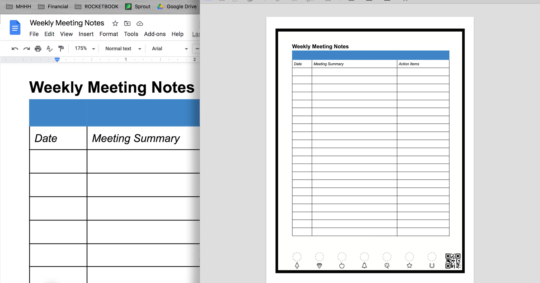 Vlastní šablony do Rocketbook zápisníku