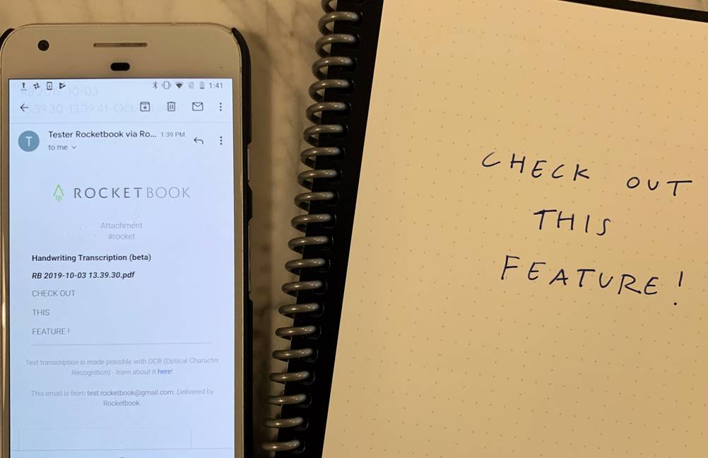 Přepis skenu do emailu v Rocketbook mobilní aplikaci pomocí funkce OCR
