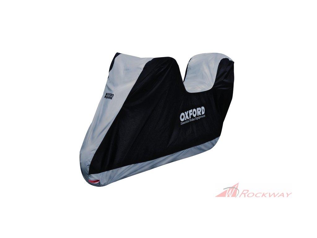 Plachta na motorku Aquatex s prostorem na kufr, OXFORD (černá/stříbrná)