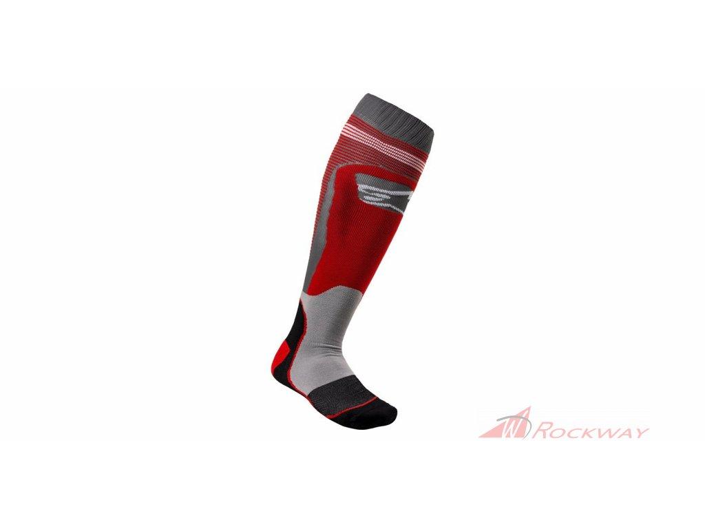 Ponožky MX PLUS-1 2021, ALPINESTARS (červená/šedá)