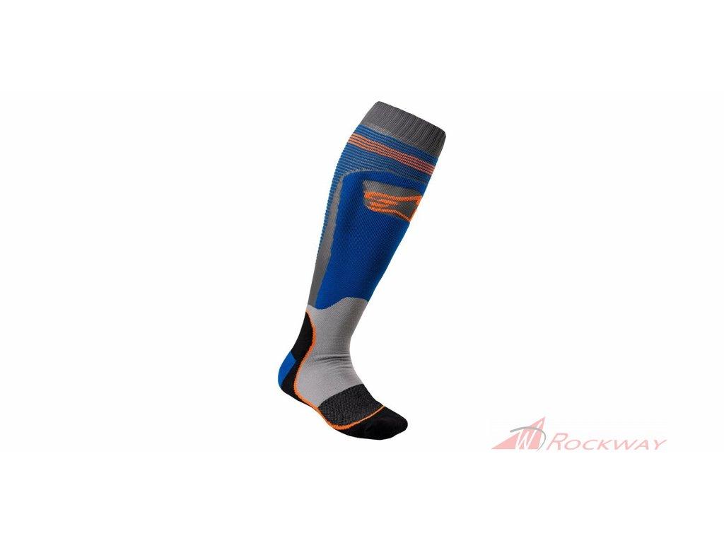 Ponožky MX PLUS-1 2021, ALPINESTARS (modrá/oranžová fluo)