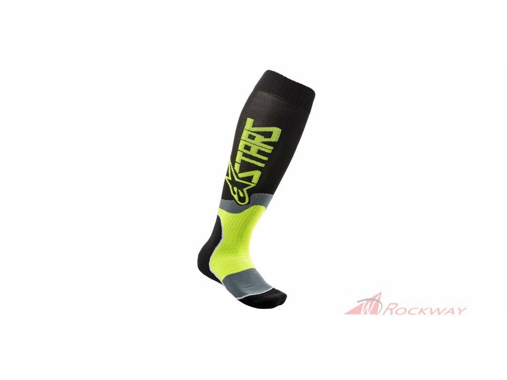 Ponožky MX PLUS-2 2021, ALPINESTARS (černá/yellow fluo)