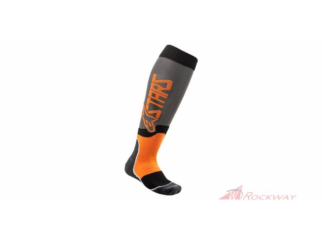 Ponožky MX PLUS-2 2021, ALPINESTARS (šedá/oranžová fluo)